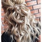 bridesmaid hair braid half up medium length