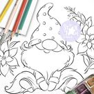 Gnome sits on a Flower. Digi Stamp Nordic Coloring Page | Etsy