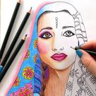 Adult Coloring Book Page PDF | Bollywood Fashion Coloring Printable Line Art