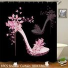 Pink Shoe Shower Curtain Set - 180x180cm Shower Curtain Only