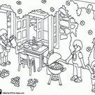Kleurplaat Playmobil, een familie barbecue kleurplaten