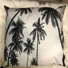 Black and White Palm Tree Throw Pillow
