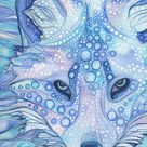 Arctic Fox - print of watercolour painting in whimsical surreal and psychedelic blues, vibrant wildlife snow nature animal portrait artwork