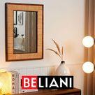 10€ Gutschein auf alles - Code PinDE2020 / Rustikaler Wandspiegel rechteckig mit breitem Rahmen aus Tannenholz Bambusholz hellbraun 54 x 74 cm  Beliani
