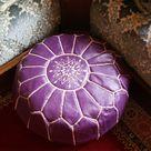 Round Purple Leather Pouf 14