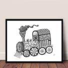 Framed print steam train drawings | My Site