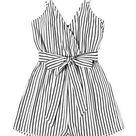 SweatyRocks Women's Boho Floral Print V Neck Beach Shorts Romper Jumpsuit with Belt - Medium / Black White