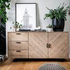 Buffet bahut contemporain de salon en bois clair recyclé Vittoria