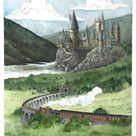 Hogwarts Castle Watercolor Painting   Harry Potter Art Print   Hogwarts Express Illustration   Nursery Wall Decor