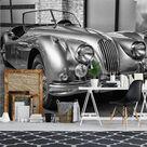 Chrome Convertible Vintage Car Gray Wallpaper Mural