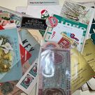 Huge lot of mixed vintage ephemera, vintage paper, over 60 pieces, calling cards, cancelled stamps, holy cards, office paperwork, more