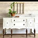 Painted White Buffet with Stained Legs