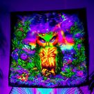 Blacklight Backdrop, UV Wall Hanging, Trippy Wall Art, Psychedelic Tapestry, Neon Tapestry, Fluoresc