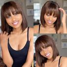 Shoulder Length Dark Red Wigs for Women Bob Wig Bangs Straight | Etsy