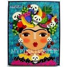 SPECIAL - Frida Fruits and Skulls 8 x 10 PRINT of painting by LuLu Mypinkturtle - Reg price 15
