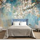Oil painting Wallpaper Murals Flower Pattern Wall Decorating   Etsy