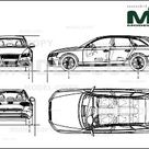 Audi S4 Avant 2009   2D drawing blueprints   30139   Model COPY   English