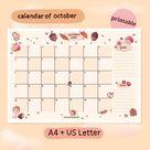 October 2021 Calendar Printable  A4  US Letter | Etsy