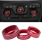 Air Conditioner Switch CD Button Knob Cover Auto Interior Accessories Aluminum Alloy Decal Trim Rings for 2015-2019 Dodge Challenger Charger Chrysler 300 300s 2013-2018 Dodge Ram - Red