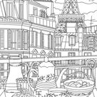 Paris - Printable Adult Coloring Page from Favoreads (Coloring book pages for adults and kids, Coloring sheets, Coloring designs)