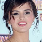 Selena Gomez Wavy Dark Brown Pinned Back, Sideswept Bangs Hairstyle   Steal Her Style
