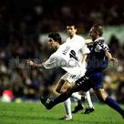 Leeds Utd 4 Troyes AC 2 in Oct 2001 at Elland Road. Harry Kewell tries his luck with a header in the UEFA Cup 2nd Round, 1st Leg.