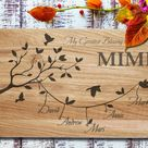 Family wood board tree personalized cutting board engraved   Etsy
