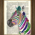 ZEBRA PRINT: Rainbow of zwart-wit Vintage woordenboek Art