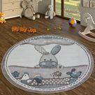 Runder Teppich Kinderzimmer Bauernhof Tiere Pastell In Beige, GrößeØ 120 cm Rund