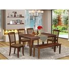 Winston Porter Windon 6 Piece Solid Wood Dining Set Wood/Upholstered Chairs in Brown/White, Size 30.0 H x 36.0 W x 60.0 D in   Wayfair