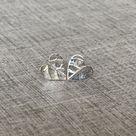 Fine Silver Heart Studs with Leaf Vein Imprint
