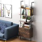 Ladder Shelf Bookshelf, 5 Tier Wall-Mounted Industrial Ladder Bookcase Wood Look Plant Flower Storage Stand Organizer Utility Storage Rack for Living Room, Kitchen, Office - 3 Tiers / Dark Walnut