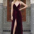 Spaghetti Straps Velvet V-neck Slit long Prom Dresses,Party Dress, PL125