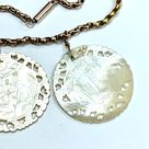 Antique 9CT Gold Chain Necklace with Mother of Pearl Chinese Gaming Chips * Edwardian Victorian * 18 Inch