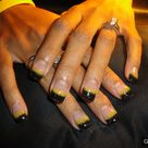 Black and Yellow Nails Gel Art