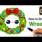 How to Draw a Christmas Holiday Wreath Easy
