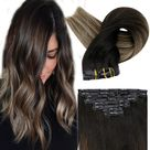 Up to 70% Off Full Shine PU Clip in Extensions 100% Remy Human Hair 8 Pieces Balayage Color (#1B/6/27) (Only for US Address) - 14\ 100g / #1B/6/27