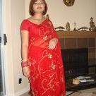 Real Life Indian Housewife in Red Saree Dress