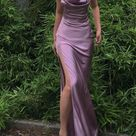 Purple Silk Long Prom Dress With Split,9614 - Choose your size here / Custom Color(Special instructions for seller)