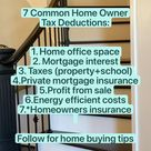7 common Home Owner  tax deduction #moneytips #savings #homeowner
