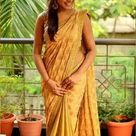 Beautiful Hot Indian Girl in Golden Saree