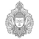 Buddha head with floral decoration. Sign for tattoo, textile print,...