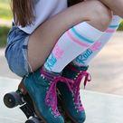 Knee High Socks, Roller Skate Socks, Yellow Stripe Socks, Women's Skate Socks, Roller Skate Apparel, Skater Gift, Roller Derby Socks, Gift