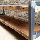 Reclaimed Wood and Metal Bench Bota Bench // 54W x 12D x 19H | Etsy
