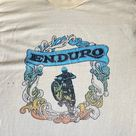 Vintage 70's Trashed Paper Thin Faded Crackled Pale Yellow Enduro Iron On Transfer Motocross Endurance Motorbike Sport T Shirt Size XS/S