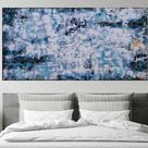 XXXL Abstract Crest of a Wave 160 x 80cm Textured Abstract Painting (2020) Acrylic painting by Susan Wooler