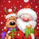 Santa And Reindeer 1 by Makiko