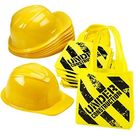 Construction Birthday Party Supplies - (24 Pack) Construction Party Hat & Mini Tote Bag Supplies - (12) Yellow Toy Hats and (12) Under Construction Goodie Bags - Yellow