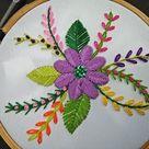 Hand Embroidery | Raised Fishbone Stitch Flower Embroidery | Fantasy Flower Stitch