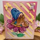 Gnome sits on a Flower. Digi Stamp, Nordic, Coloring Page, Digital Art, Cute, beard, nice, Butterflies, summer, spring, fairytale, card